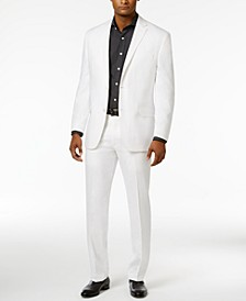 Men's Classic-Fit White Linen Suit Separates
