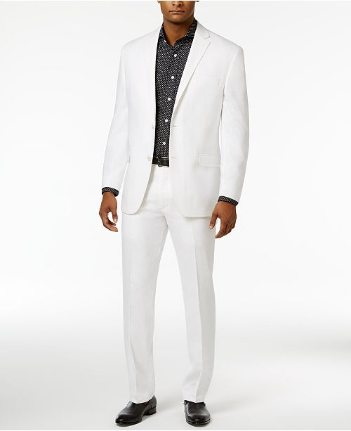 Sean John Men's Classic-Fit White Linen Suit Separates