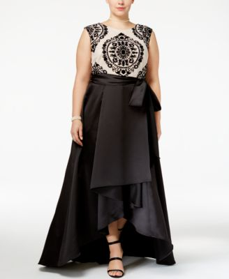 Betsy & Adam Plus Size Lace Satin High-Low Gown