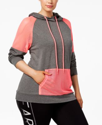 Material Girl Active Plus Size Mesh-Trim Hoodie, Only at Macy's