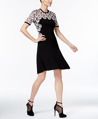 Yyigal Lace Contrast Fit Amp Flare Dress A Macy S Exclusive