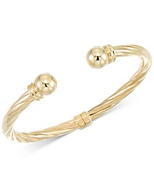 Rope-Style Hinged Cuff Bracelet in 14k Gold