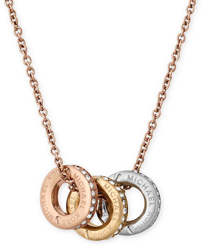 Michael kors tri tone pav multi pendant necklace jewelry michael kors tri tone pav multi pendant necklace mozeypictures Image collections