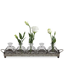 Decorative Iron Tray with 5 Glass Vases