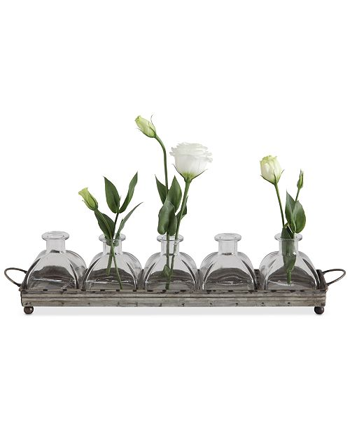 3r Studio Decorative Iron Tray With 5 Glass Vases Bowls Vases