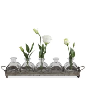 Image of Decorative Iron Tray with 5 Glass Vases
