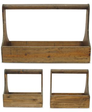 Image of 3-Pc. Wood Planter Basket Set