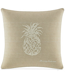 "Tommy Bahama Home Canvas Stripe 20"" Square Pineapple Decorative Pillow"