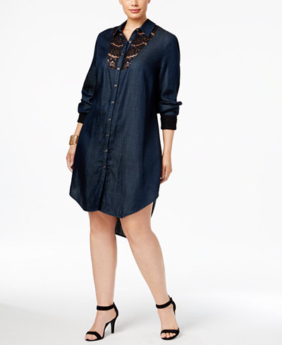 Standards and Practices Trendy Plus Size High-Low Shirtdress ...