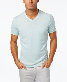 I.N.C. Men's Distressed V-Neck Cotton T-Shirt, Created for Macy's