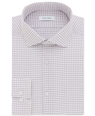 Calvin Klein Men's STEEL Slim-Fit Non-Iron Pink Check Dress Shirt ...