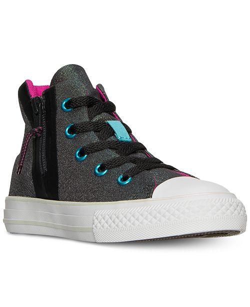 9531b8473b94 ... Converse Little Girls  Chuck Taylor All Star Sport Zip High Top  Sneakers from Finish ...