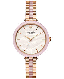 kate spade new york Women's Holland Rose Gold-Tone Stainless Steel and Blush Pink Acetate Bracelet Watch 34mm KSW1263
