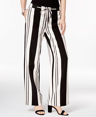 I.N.C. Petite Striped Wide-Leg Pants, Created for Macy's $48.65