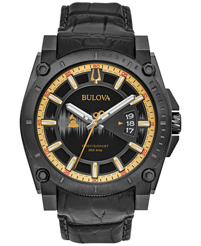 Bulova Men's Special Edition 2017 GRAMMY® Black Leather Strap Watch 46mm 98B293