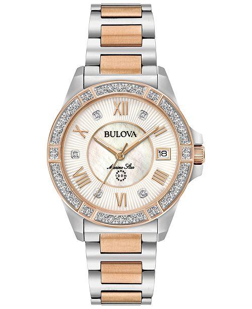Bulova Women's Diamond Accent Marine Star Two-Tone Stainless Steel Bracelet Watch 32mm 98R234