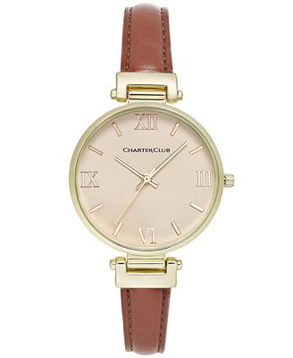 Charter Club Women's Brown Imitation Leather Strap Watch 36mm, Only at Macy's