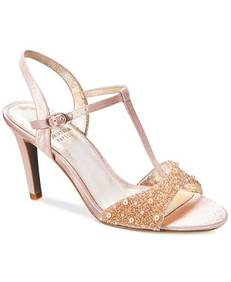 Adrianna Papell Alia T-Strap Beaded Evening Sandals