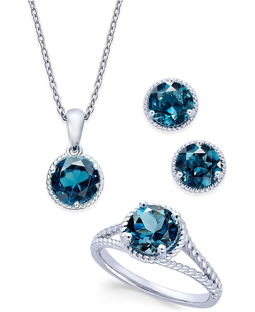 Macy's London Blue Topaz Rope-Style Pendant Necklace, Stud Earrings and Ring Set (5 ct. t.w.) in Sterling Silver