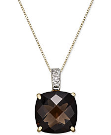 Smoky Quartz (6-1/2 ct. t.w.) Diamond Accent Pendant Necklace in 14k Gold