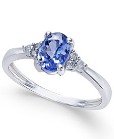 Tanzanite (3/4 ct. t.w.) and Diamond Accent Ring in 14k White Gold (Also Available in 14K Rose Gold)