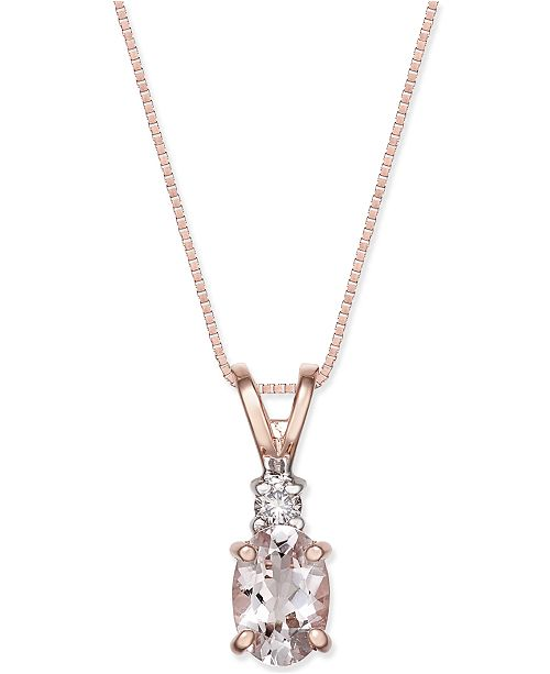Morganite (1 ct. t.w.) and Diamond Accent Oval Pendant Necklace in 14k Rose Gold
