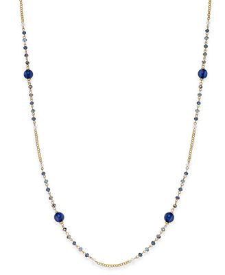 INC International Concepts Gold-Tone Blue Bead Long Necklace, Created for Macy's