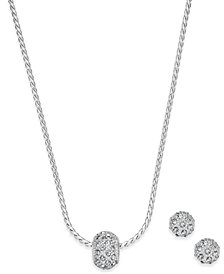 Charter Club Silver-Tone Pavé Ball Pendant Necklace and Stud Earrings Set, Created for Macy's