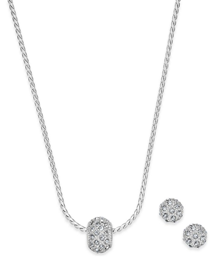 Charter Club - Gold-Tone Pavé Ball Pendant Necklace and Stud Earrings Set
