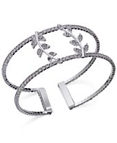 INC International Concepts Silver-Tone Pavé Double Leaf Open Cuff Bracelet, Created for Macy's