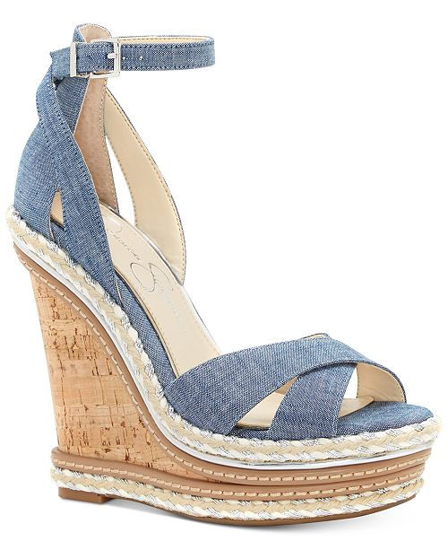9bd6360029 Jessica Simpson Ahnika Ankle-Strap Wedge Sandals & Reviews - Sandals ...