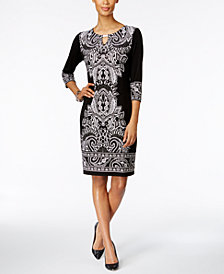 JM Collection Petite Printed Keyhole Sheath Dress