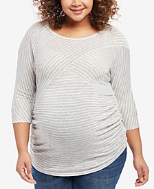 Motherhood Maternity Plus Size Striped Scoop-Neck Top