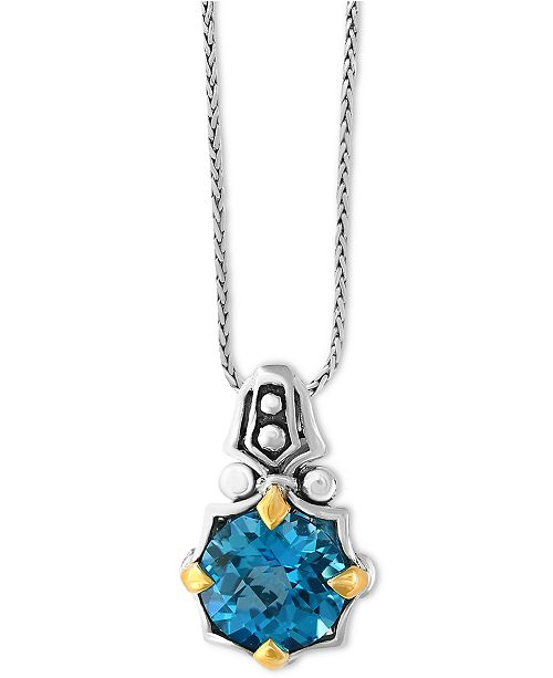 EFFY Collection EFFY® Balissima Blue Topaz Pendant Necklace (6-1/5 ct. t.w.) in Sterling Silver and 18k Gold