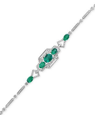 Brasilica by EFFY® Emerald (2-7/8 ct. t.w.) and Diamond (1-1/8 ct. t.w.) Link Bracelet in 14k White Gold