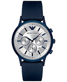 Emporio Armani Men's Chronograph Blue Rubber Strap Watch 43mm AR11026