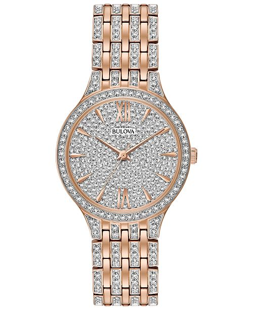 Bulova Women's Crystal Accented Rose Gold-Tone Stainless Steel Bracelet Watch 32mm 98L235