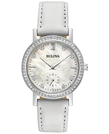 Bulova Women's White Leather Strap Watch 32mm 96L245