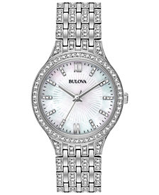 Bulova Women's Crystal Accented Stainless Steel Bracelet Watch 32mm 96L242