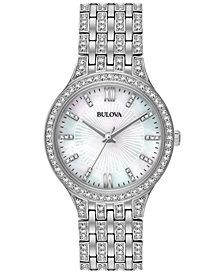Bulova Women's Crystal Accented Stainless Steel Bracelet Watch 32mm 96L242