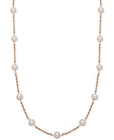 Honora Style Cultured Freshwater Pearl (6mm) Collar Necklace in 14k Rose Gold