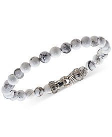 Esquire Men's Jewelry Howlite (8mm) Beaded Bracelet in Sterling Silver, Created for Macy's