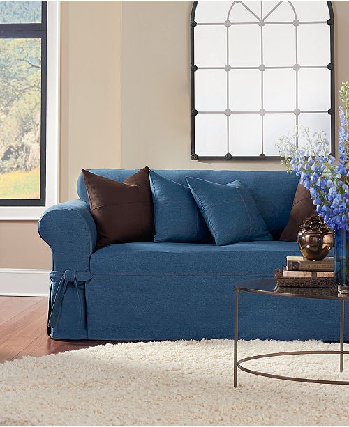 Sure Fit Authentic Denim One Piece Sofa Slipcover Slipcovers Home Macy S