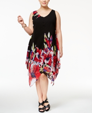 Plus Size Retro Dresses Inc International Concepts Plus Size Printed Handkerchief-Hem Dress Only at Macys $99.50 AT vintagedancer.com