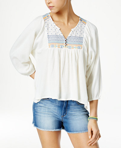 Roxy Juniors' Embroidered Cotton Peasant Top