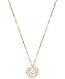 Rose Gold-Tone Crystal Pendant Necklace