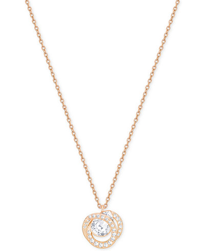 Swarovski Rose Gold-Tone Crystal Pendant Necklace