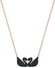 Rose Gold-Tone Black Pavé Swans Pendant Necklace