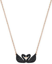 Swarovski Rose Gold-Tone Black Pavé Swans Pendant Necklace