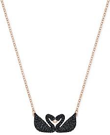 Swarovski Rose Gold-Tone Black Pavé Swans Pendant Necklace